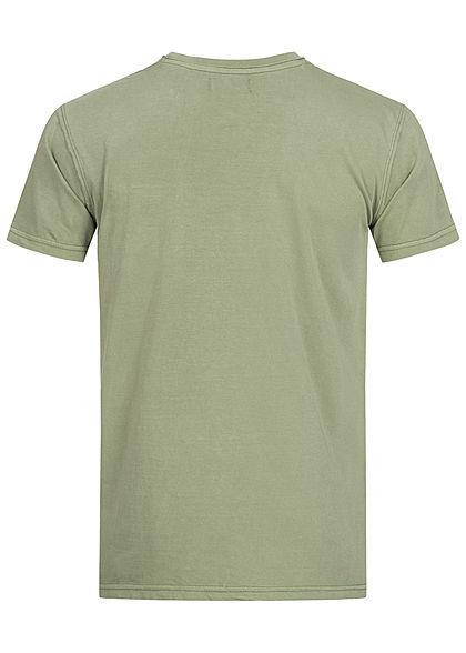 Urban Surface Herren T-Shirt offene Nähte Brusttasche vintage oliv grün