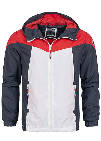 Sublevel Herren Colorblock Trainingsjacke mit Kapuze 2-Pockets navy blau weiss rot