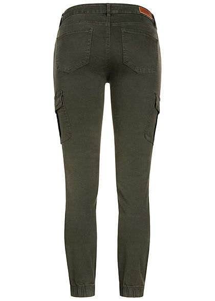 ONLY Damen NOOS Ankle Cargo Jeans 6-Pockets Regular Waist rosin dunkel grün