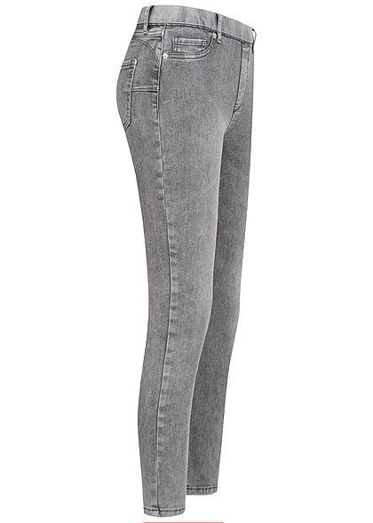 Hailys Damen Skinny Jeggings Hose mit elstischem Bund Deko Taschen vorne medium grau