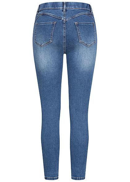 Hailys Damen Skinny Jeggings Hose mit elstischem Bund Deko Taschen vorne blau denim