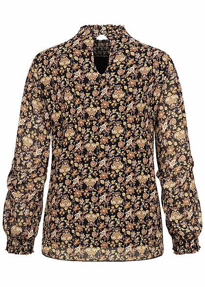 Hailys Damen leichte Bluse Floraler Print mit Raffung am Kragen schwarz braun