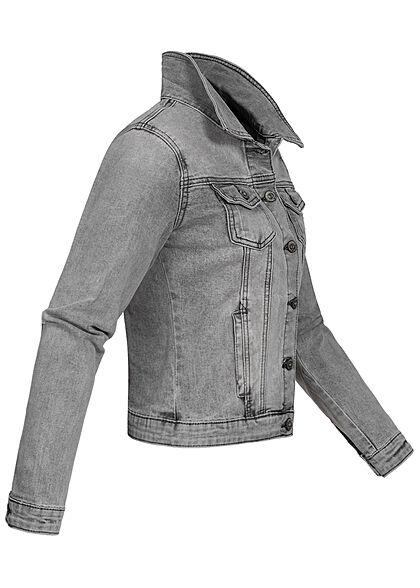 Hailys Damen kurze Jeans Jacke 2-Pockets 2 Brusttaschen Knopfleiste hell grau denim
