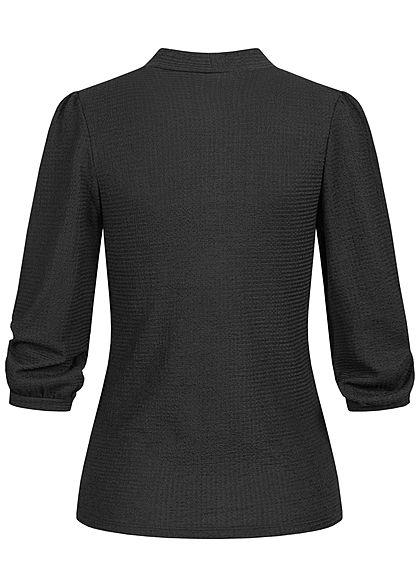 Hailys Damen 3/4 Arm Krepp Puffer Bluse mit Stehkragen schwarz