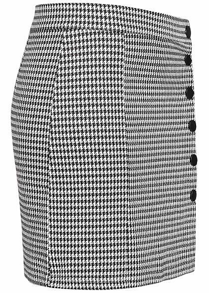 Hailys Damen Mini Rock Karo Muster versetzte Knopfleiste schwarz weiss