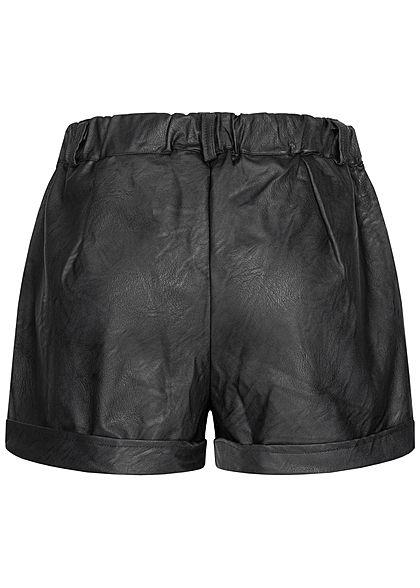 Hailys Damen Kunstleder Shorts 2-Pockets Beinumschlag schwarz