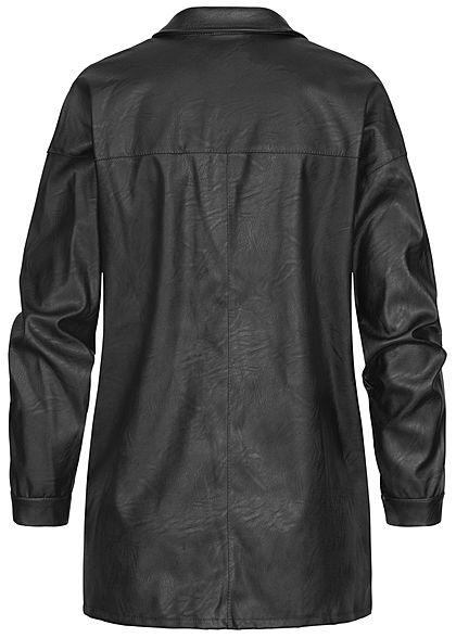 Hailys Damen Kunstleder Bluse mit Brusttasche Knopfleiste schwarz