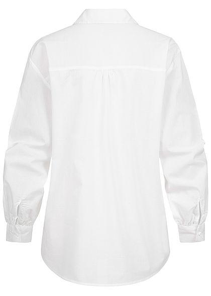 Hailys Damen leichte V-Neck Bluse mit Pufferärmeln Knopfleiste weiss