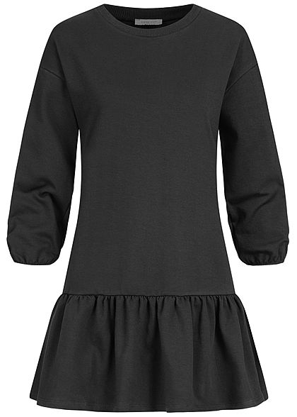 Hailys Damen 3/4 Arm Sweat Kleid Raffung am Saum schwarz