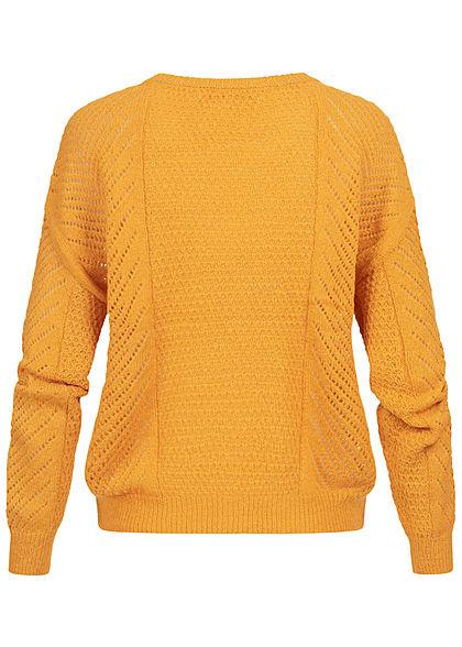 ONLY Damen Grobstrick Pullover golden glow gelb