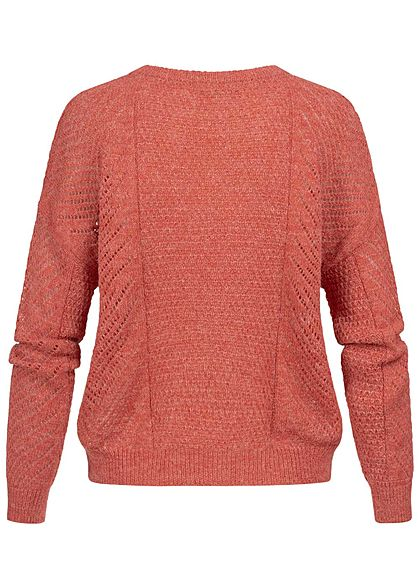 ONLY Damen Grobstrick Pullover mineral rot