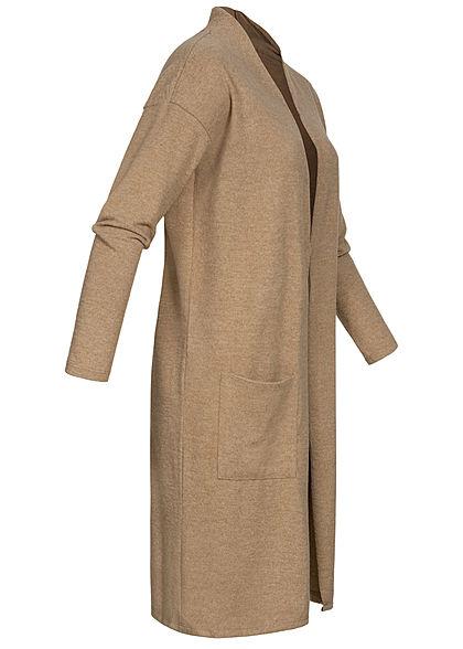 Hailys Damen Soft Touch Cardigan 2-Pockets taupe marl beige braun