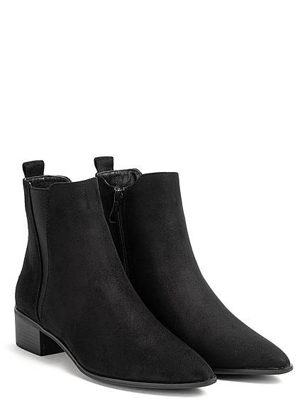 Hailys Damen Schuh Velour Kunstleder Stiefelette Zipper Blockabsatz schwarz