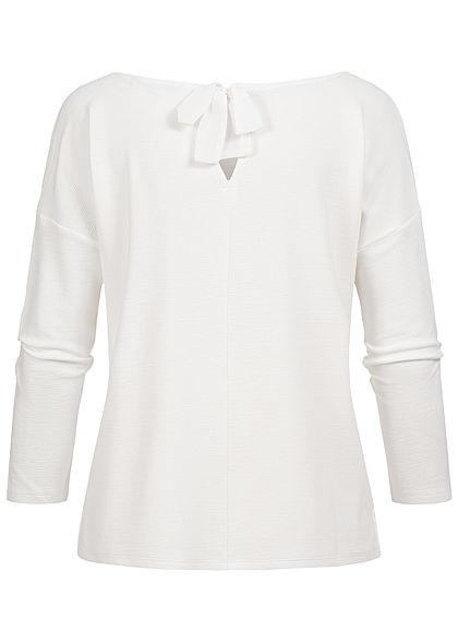 Tom Tailor Damen 3/4 Arm Ribbed Pullover Sweater mit Schleife hinten off weiss