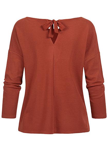 Tom Tailor Damen 3/4 Arm Ribbed Pullover Sweater mit Schleife hinten rost braun