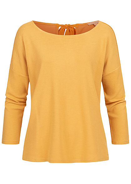 Tom Tailor Damen 3/4 Arm Ribbed Pullover Sweater mit Schleife indian spice gelb