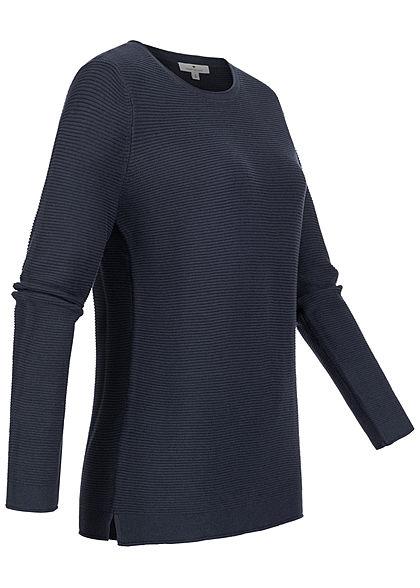 Tom Tailor Damen Ribbed Langarm Pullover Sweater night sky navy blau