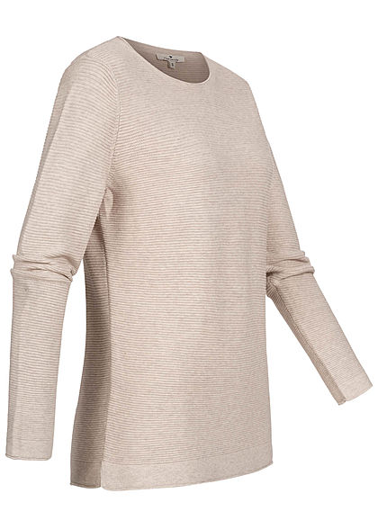 Tom Tailor Damen Ribbed Langarm Pullover Sweater dusty alabaster beige melange