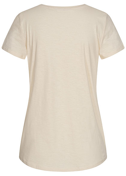 Tom Tailor Damen V-Neck T-Shirt mit Stickerrei soft creme beige
