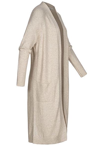 Tom Tailor Damen Longform Cardigan 2-Pockets offener Schnitt desert sand melange