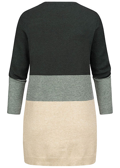 ONLY Damen NOOS Midi Colorblock Cardigan 2-Pockets june bug balsam grün