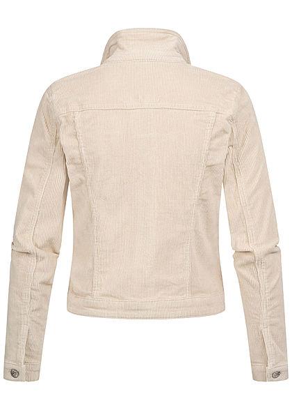 ONLY Damen kurze Cord Jeans Jacke 2 Deko Brusttaschen Knopfleiste whitecap gray