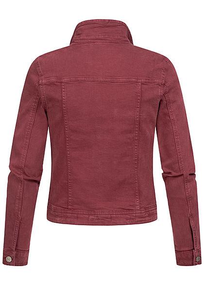 ONLY Damen kurze Jeans Jacke 4-Pockets Knopfleiste port royal bordeaux rot