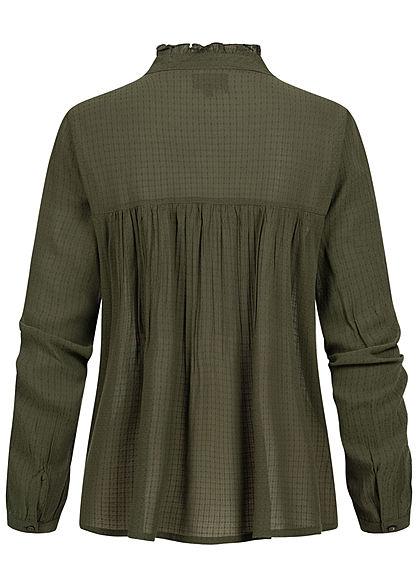 ONLY Damen Langarm Struktur Puffer Bluse Frillkragen Knopfleiste rosin grün