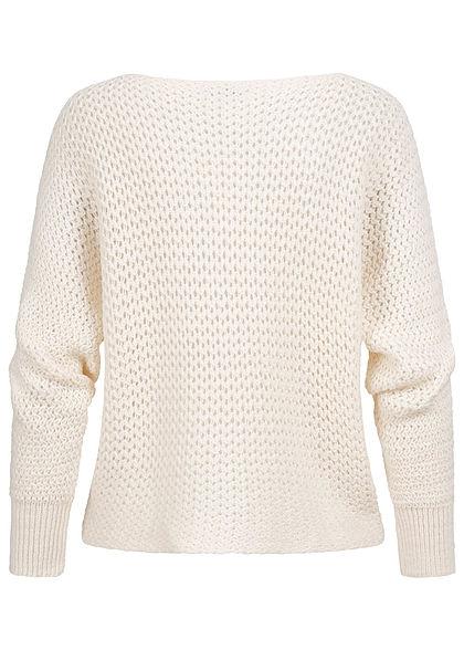 Hailys Damen Fledermausarm Grobstrickpullover Sweater Lochmuster cream beige