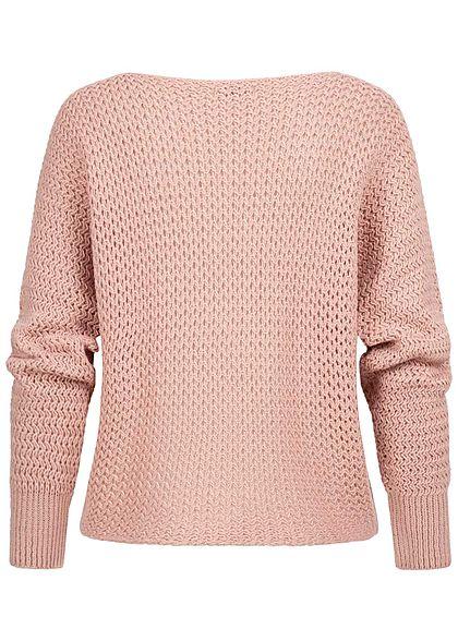 Styleboom Fashion Damen Grobstrickpullover Lochmuster rosa