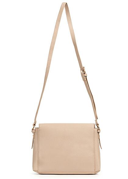 Hailys Damen Midi Kunstleder Handtasche 20x26cm 2-Pocket Style beige