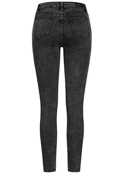 Hailys Damen High-Waist Skinny Jeans Hose Knopfleiste 5-Pockets acid schwarz denim