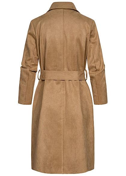 Hailys Damen Langarm Blazer in Wildlederoptik 2-Pockets inkl. Bindegürtel dunkel beige
