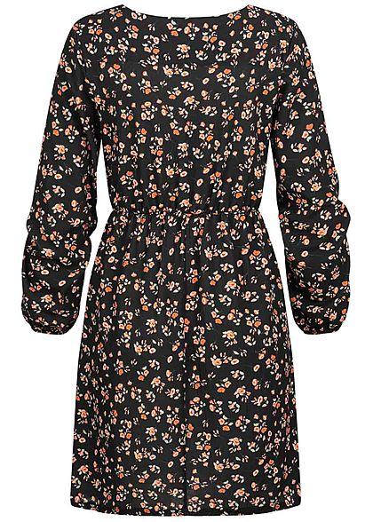 Hailys Damen Langarm Chiffon Kleid Taillengummibund Blumen Print 2-lagig schwarz