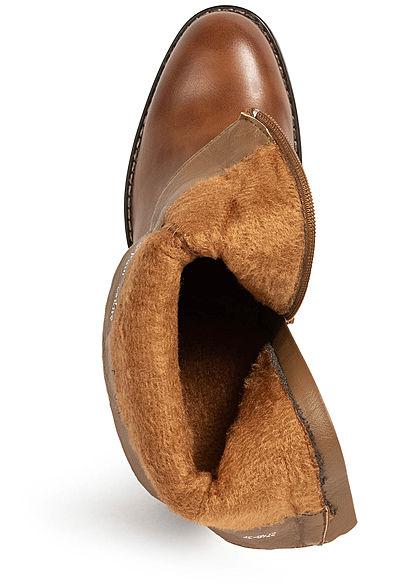 Seventyseven Lifestyle Damen Schuh Kunstleder Stiefelette Zipper Materialmix camel braun