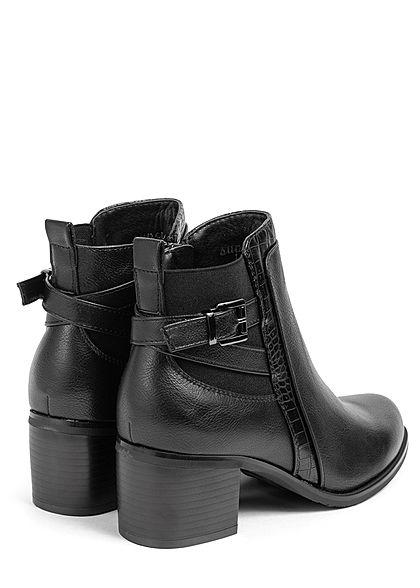 Seventyseven Lifestyle Damen Schuh Kunstleder Stiefelette Zipper Schnalle schwarz