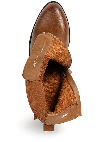Seventyseven Lifestyle Damen Schuh Kunstleder Stiefelette Zipper Schnalle camel braun
