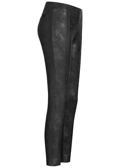 Hailys Damen Kunstleder Leggings 2 Deko Taschen hinten Gummibund schwarz
