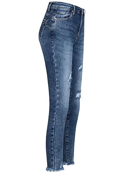 Hailys Damen Skinny Jeans Hose High-Wasit 5-Pockets Destroy Look Fransen medium blau denim