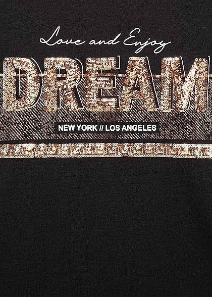 Hailys Damen T-Shirt City Dream Pailletten schwarz gold