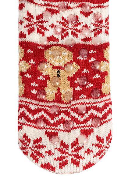 Hailys Damen Weihnachtssocken mit Bommel und Noppen rot weiss braun