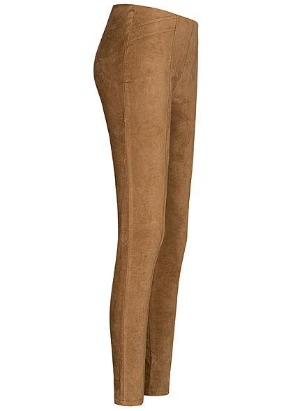Zabaione Damen Stoffhose Leggings in Wildlderoptik ohne Taschen Gummibund camel braun