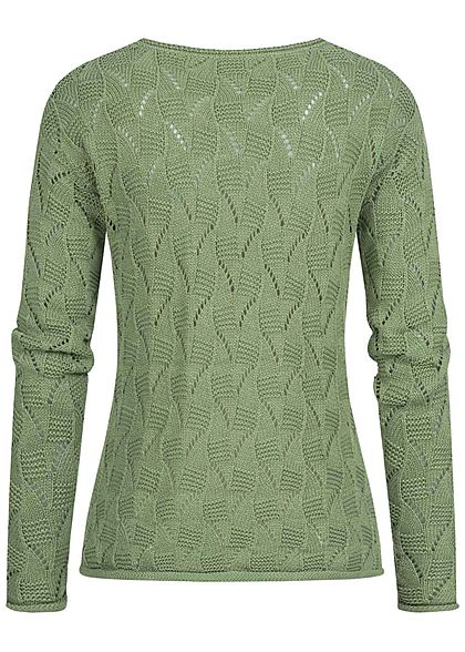 Zabaione Damen Strickpullover mit Lochmuster & Rollkante am Saum grün