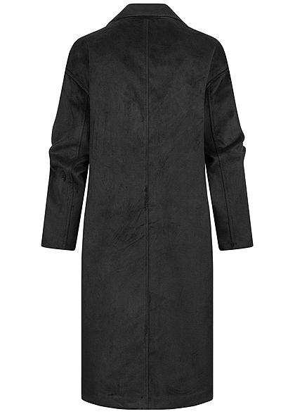 Hailys Damen Kunstwoll Midi Mantel 2 große Taschen Knopfleiste schwarz