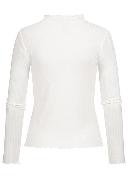 Hailys Damen High-Neck Ribbed Longsleeve mit Frill Details off weiss