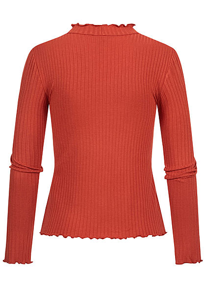Hailys Damen High-Neck Ribbed Longsleeve mit Frill Details burnt rot