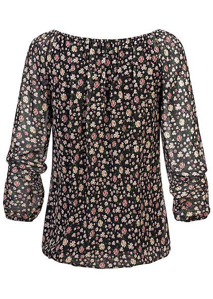 Hailys Damen Chiffon Blusen Shirt 2-lagig Blumen Print Schleife vorne schwarz