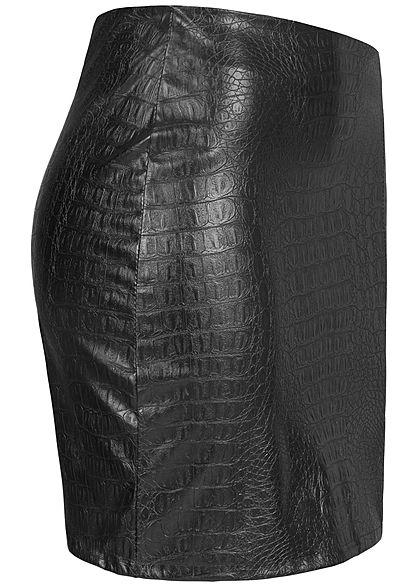 Hailys Damen Kunstleder Mini Rock Krokodil Optik Zipper hinten schwarz
