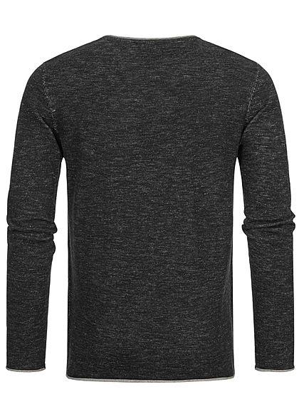 Hailys Herren leichter Sweater Strickpullover Brusttasche Rollkanten am Saum schwarz