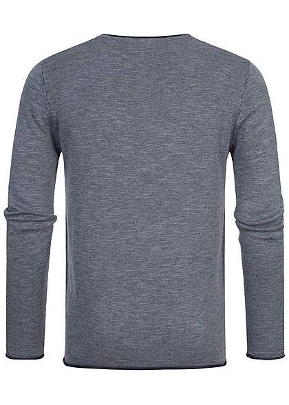 Hailys Herren leichter Sweater Strickpullover Brusttasche Rollkanten am Saum blau mel